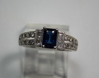 Sapphire and Diamond Engagement Ring 1.50Ctw White Gold 14K 4.3gm Size 5.5