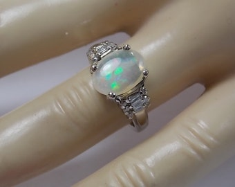 Diamond and Opalite Ring 2 Ctw  White Gold 14K 4.8gm Size 5.75 Engagement Wedding