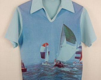 1970s Photo Print Polo Sailing Sail Boat All Over Print by Style Knit Medium Light Blue