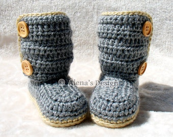Crochet Pattern 163 - Buttoned Baby Booties 0-3, 3-6, 6-9, 9-12 months Crochet Baby Booties Baby Boy Baby Girl Slippers Crochet Patterns