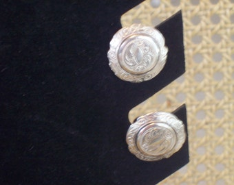 Vintage Sterling Silver Earrings, Sterling Silver Screw Back Earrings
