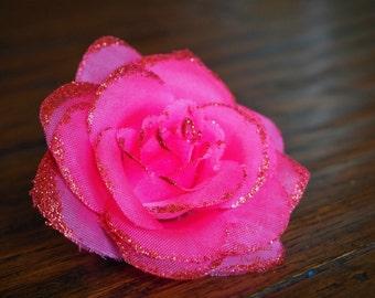 Rose Hair Clip:  FUSCIA PINK & RED Glitter Rose Hair Clip
