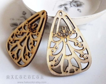 31x49mm Pretty Nature Tear Drop Leaf Wooden Charm/Pendant MH230 11