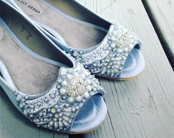 Wedding Shoes - Art Deco Inspired Peep Toe Flat - Lace, Crystal and Pearls - Ivory/White/Blue