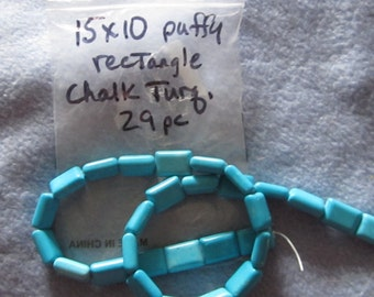 Chalk Turquoise Puffy Rectangle Beads, 15x10 mm. 29 pcs