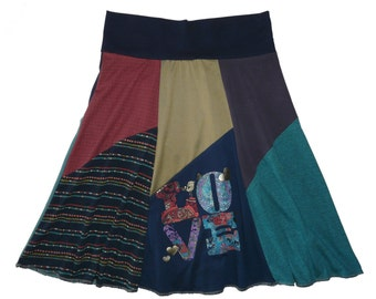 LOVE Women's Small Medium Boho Chic Upcycled Hippie Skirt recycled t-shirt clothing from Twinkle