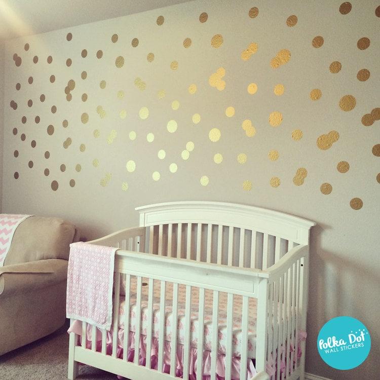 Metallic Wall Decals peel and stick metallic gold polka dot wall decals long life