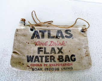 Atlas Water Bag Canvas Flax with Cork Evaporation Cool Drink Automobile