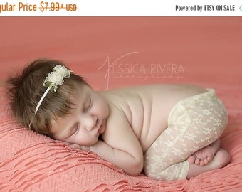SALE 25% OFF - Newborn Light Yellow Lace Pants for Photo Shoots with matching headband, photographer, infant lace pants, baby pants, by Lil