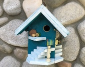 Blue Birdhouse, Decorative Home Garden Decor For Gardens or Patio, Fairy Gardens Mail Box Bird House Nest Box, Item 281328040