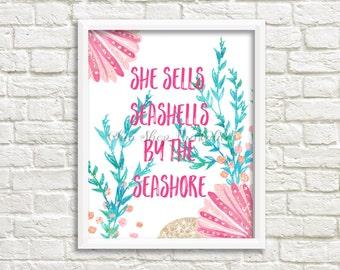 She Sells Seashells by the Seashore, Watercolor print, digital print, instant download, beach theme, pink shells, 8x10 print, summer