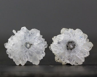 Solar Quartz Stalactite Slice Pair, Polished Crystal Flowers Earring Set Healing Protective Stone Opens Intuition Jewelry Designs (CA3781)