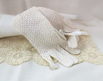 Vintage Hand Crocheted Gloves Falbala White Sunday Dress Gloves Hand Made In France
