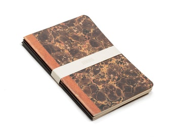 Marbled Trio - lot of 3 notebooks - vintage inspired marbled paper orange brown and black - MAR6003