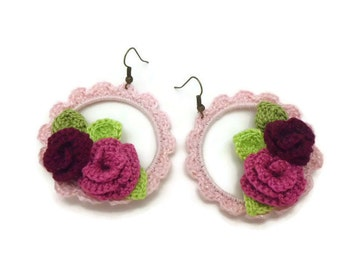 Pink Crochet Large Hoop Earrings with Red Pink Roses, Country Chic Earrings Jewelry, Miniature Crochet Rose, Red Pink Rose Earrings
