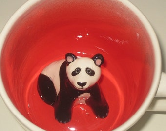 Panda Mug, Handmade Panda Mug, Animal Mug, Hidden Animal Surprise Mug, Panda Coffee Cup  (Made to Order)