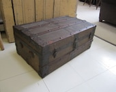 Spanish American War Foot Locker / Trunk. Antique Trunk. Wood and Steel Trunk. Shabby distressed Trunk.