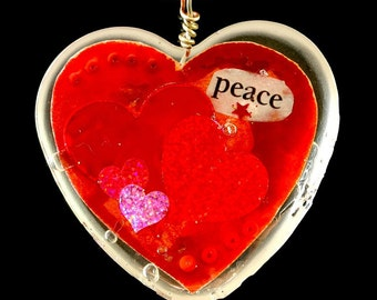"Heart Shaped Epoxy Resin Pendant - ""Peace"""