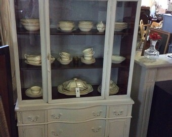 Painted Mahogany China Cabinet