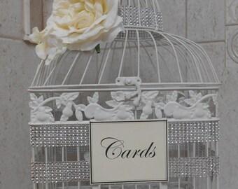Large White Wedding Birdcage Card Holder / Wedding Card Box / Wedding Decor / Table Decor / White Birdcage / Rhinestones