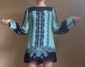 70s Turquoise Boho Flare Sleeve Mod Hippie Mini Dress