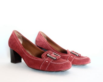 Salvatore Ferragamo Red Suede Heeled Loafers With Buckle Size 9