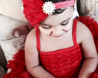 Baby Girl Vintage Inspired red Feather pad ,Elastic Headband