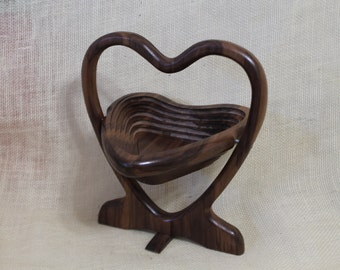 Heart Shaped Collapsible Basket / Trivet in Walnut