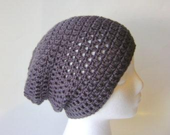 Crochet Beanie for Women, Slouchy Biker Hat, Hipster Hat, Snug Slouch in Charcoal Gray