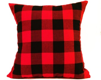 "18""X18"" Red and Black Buffalo Plaid Pillow Cover"