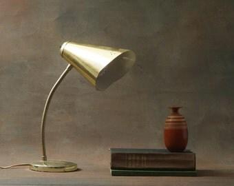 Vintage Desk Lamp Retro Goose Neck Lamp in Gold Tone