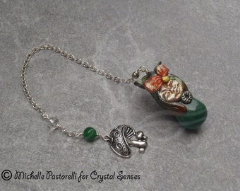 Luck Fairy Malachite Dowsing Pendulum (DP0228)
