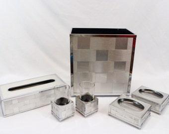 Vintage MCM 6 piece bathroom set  woven aluminum/chrome by Stylebuilt Accessories Inc
