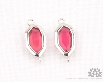 F160-R-RB// Rhodium Framed Ruby Faceted Octagon Glass Pendant Connector, 2 pcs
