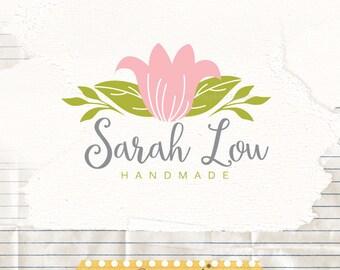 Flower logo design -  hand drawn flower premade logo - Shop Logo - Blog Logo - Flower Logo - Business Logo