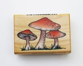 Mushrooms rubber stamp by Comotion #862 wood mounted Garden Scrapbook Card making