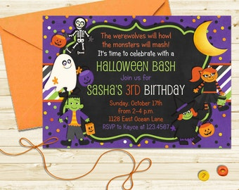 Halloween Birthday Invitation - Printable Halloween Party Invite for Kids Costume Party