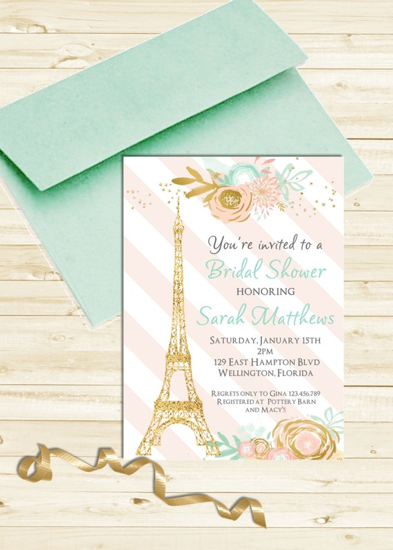 Mint and Pink Striped Paris Baby or Bridal Shower Invitation Gold Bebe Soiree Printable Invite