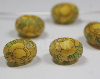 2 pieces 14mm by 10mm Oval Japanese Matted Frost surface TENSHA Beads with yellow Rose - Antique Look (TS21)