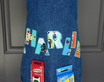 Free USA Shipping, Toddler Personalized Art Aprons, personalized boy, Art Smock, Robot Birthday, Cooking Apron, Birthday gift, robot boy
