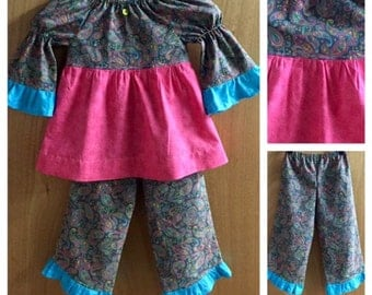 Hippie Print Peasant Top with Ruffle Pants, size 4t