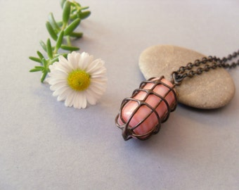 Wire jewelry, birthday gift, boho pendant, copper wire necklace, pink bead, contemporary jewelry