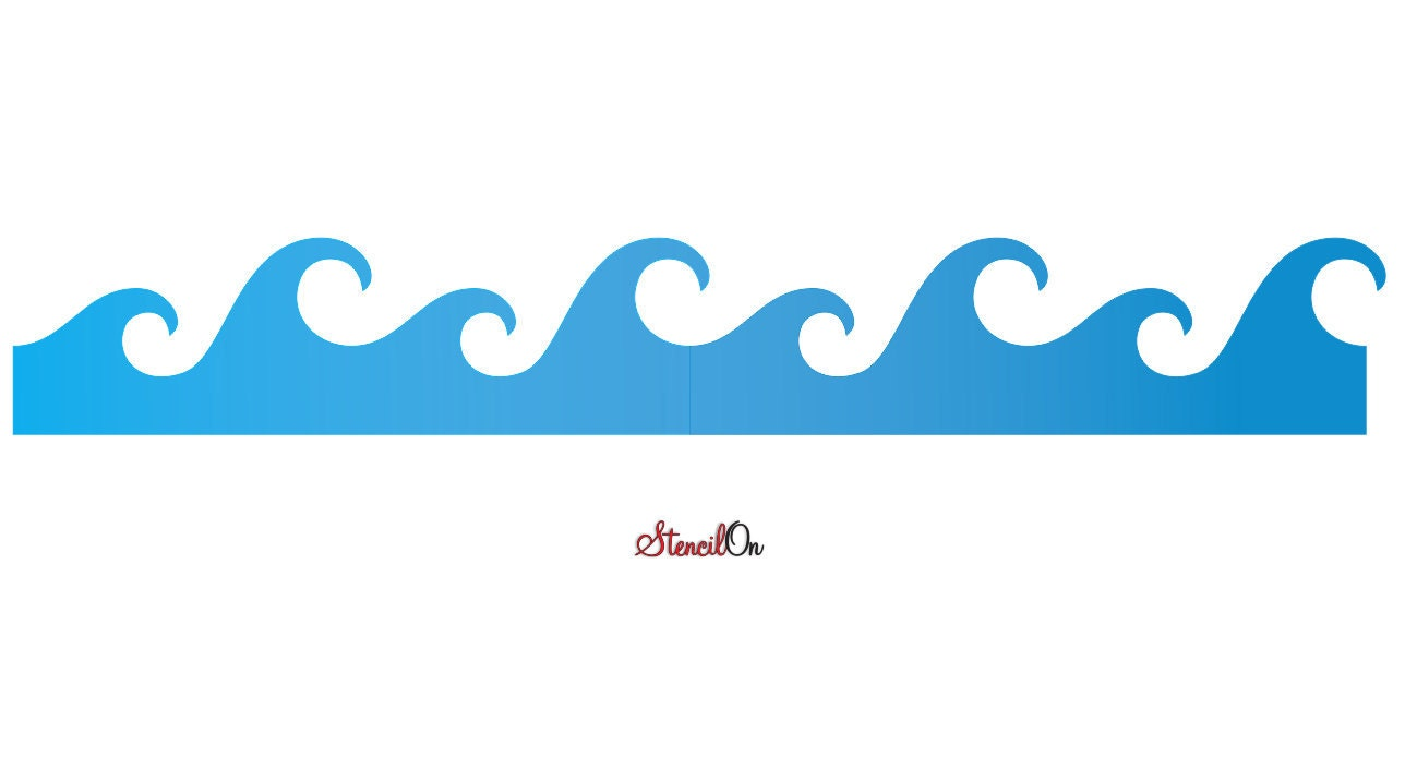 Wave crest wall border stencil reusable 7 mil mylar details wave crest wall border stencil amipublicfo Images