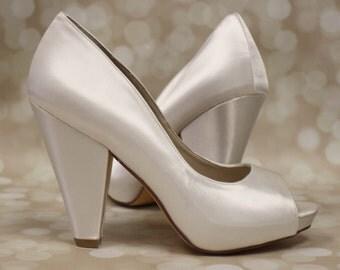 Design Your Own Wedding Shoes, Wedding Shoes, Bridal Heels, Bridesmaids' Shoes, Block Heel, Simple Wedding Shoes, Ivory, Wedding, Shoes