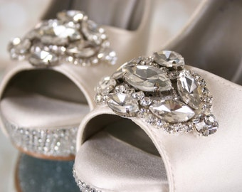 Ivory Wedding Shoes, Peep Toes, Bling Wedding Shoes, Crystal Heels, Wedding Shoe Bling, Custom Wedding Shoes, Silver Shoes, Crystal Shoes