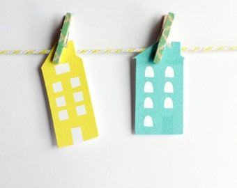 Clothespins as Office Supplies - Set of 8 - Green & White Damask Clothesline Kit
