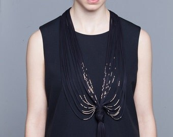 Long fabric necklace, bold necklace, black necklace, tribal jewelry. spring collection , fringe necklace