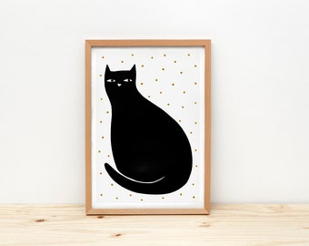 Cat art print, black cat illustration by depeapa, cat wall art, A4, black cat poster, cat lover gift, decor, kids room decor, animal art