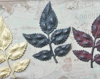 SALE- THREE Large brass leaf spray stamping, Patina mix
