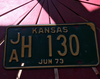 Kansas Jun 1973 metal license plate